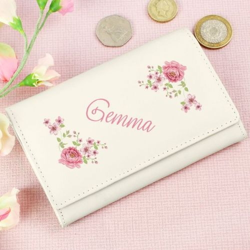 Personalised Floral Cream Purse